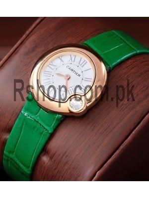 Cartier Ballon Bleu Green Leather Straps Ladies Watch Price in Pakistan