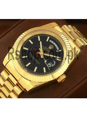 Rolex Day-Date Yellow Gold Black Index Dial Watch Price in Pakistan