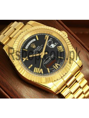 Rolex Day-Date  Yellow Gold Black Roman Dial Watch Price in Pakistan