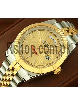 Rolex Day-Date Yellow Gold Strip Motif Index Dial Watch Price in Pakistan