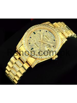 Rolex Day-Date Gold Diamond Pave Dial Watch